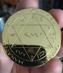Solar healing pentacle gold plated.