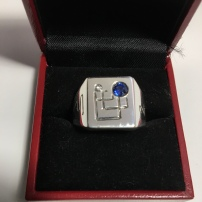 Solid silver Jupiter ring with diamond and blue Sapphire